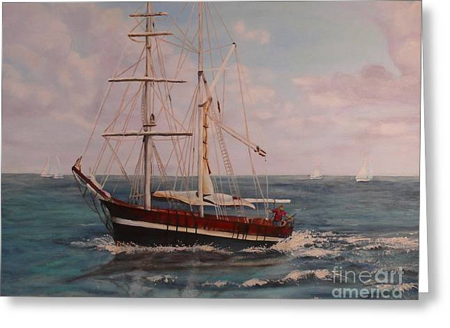 Greeting Card featuring the painting Sailing In The Caribean by Terri Thompson