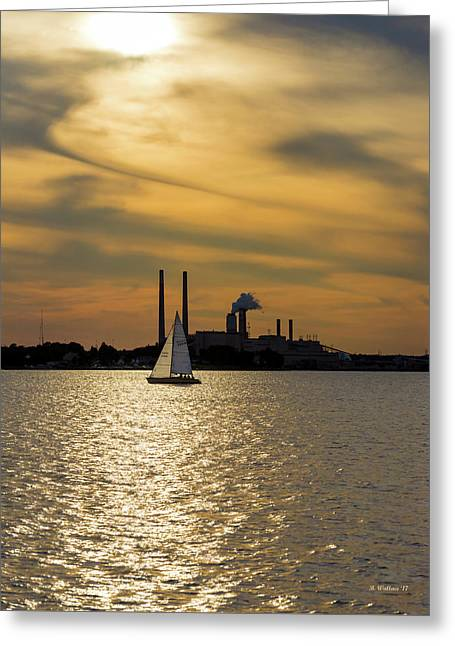 Sailing In The Golden Hour Greeting Card