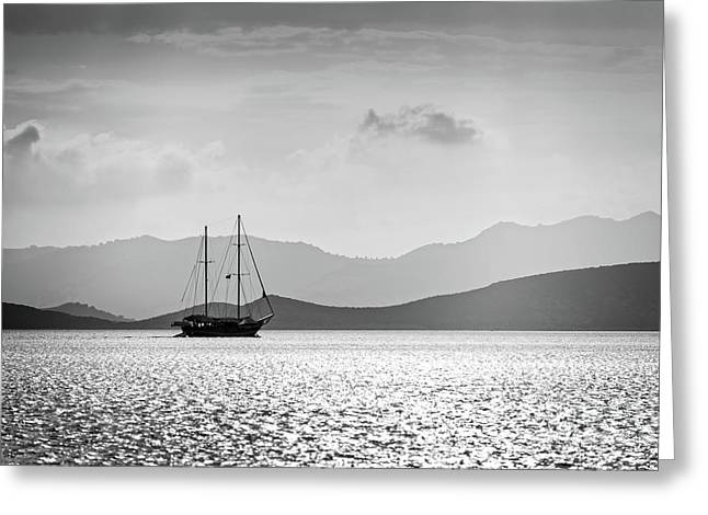 Sailing In The Sunset Greeting Card by Delphimages Photo Creations