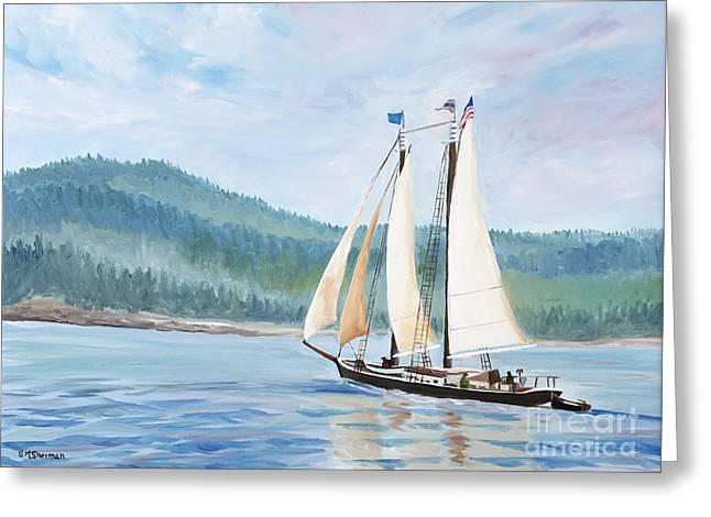 Sailing Into Castine Harbor Greeting Card by Stella Sherman
