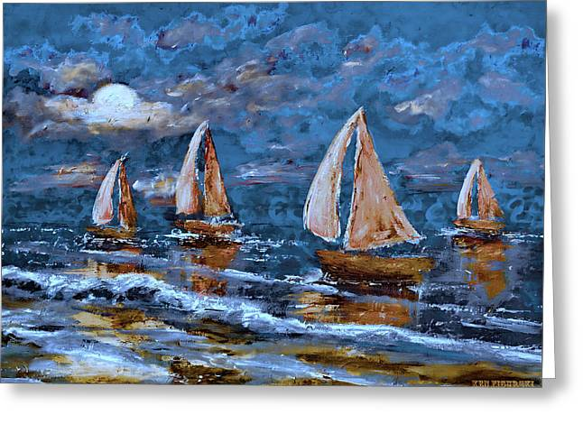 Sailing Into The Blue Moon 2 Greeting Card