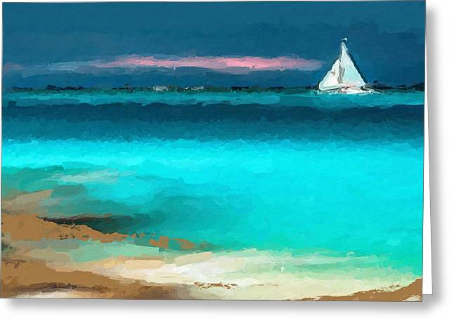 Sailing Just Offshore Greeting Card