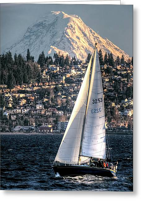 Sailing On Elliot Bay, Seattle, Wa Greeting Card by Greg Sigrist