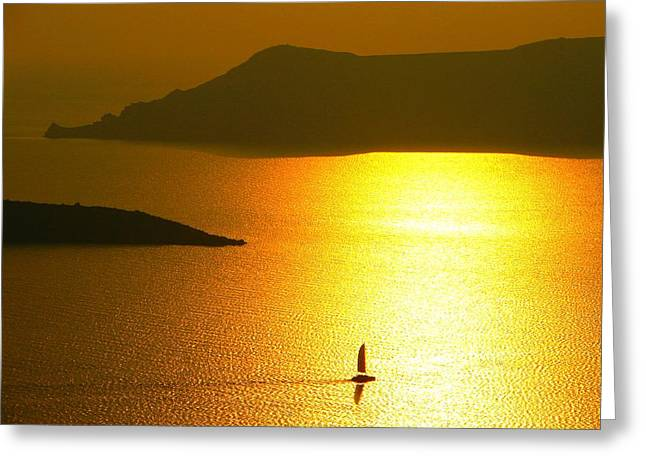 Greeting Card featuring the photograph Sailing On Gold 1 by Ana Maria Edulescu