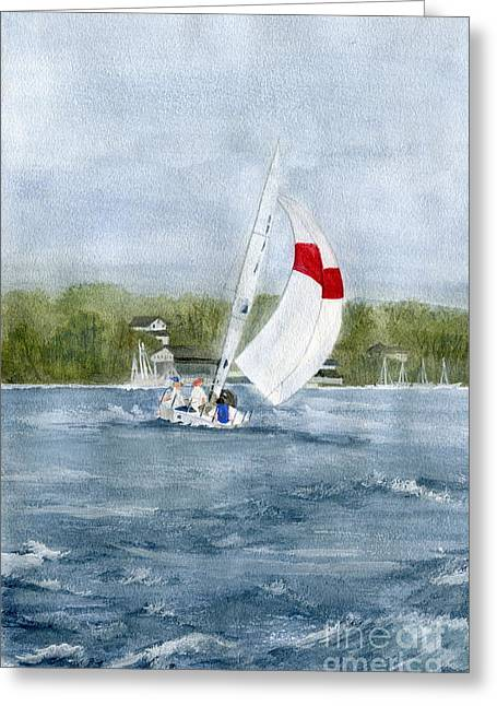 Greeting Card featuring the painting Sailing On Niagara River by Melly Terpening