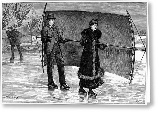 Middle Class Greeting Cards - Sailing On Skates, 1880 Greeting Card by Granger