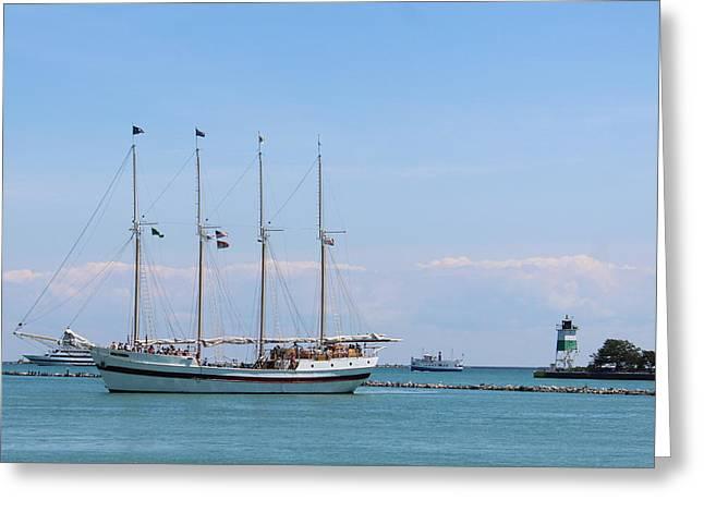 Sailing On The Lake Greeting Card by Carolyn Ricks