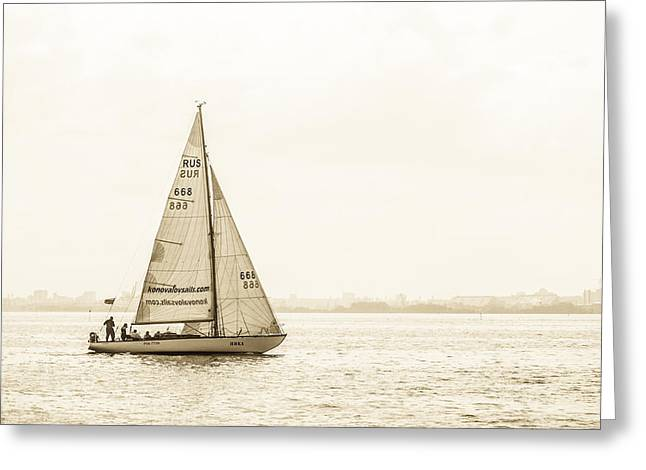 Sailing On The River Neva Greeting Card by Clare Bambers