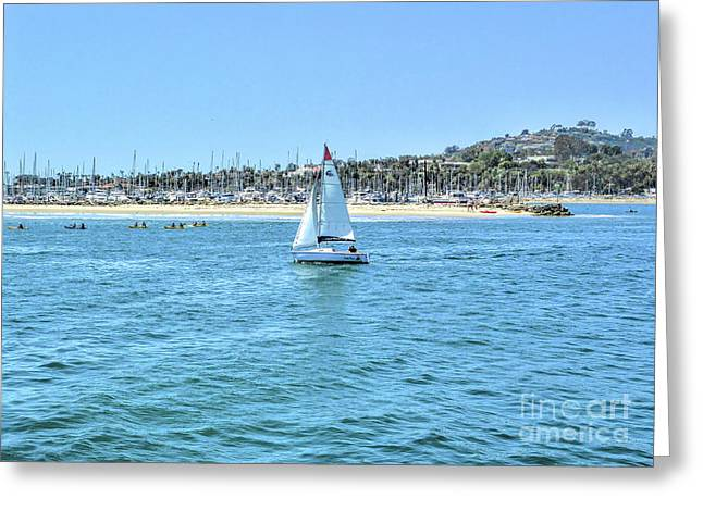 Sailing Out Of The Harbor Greeting Card
