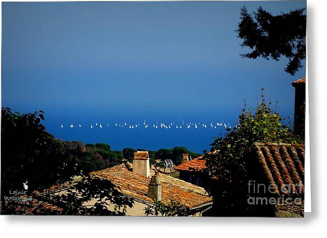 Sailing Over The Roof Tops Greeting Card