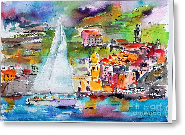 Sailing Past Vernazza Italy Greeting Card