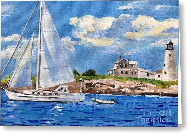 Sailing Past Wood Island Lighthouse Greeting Card