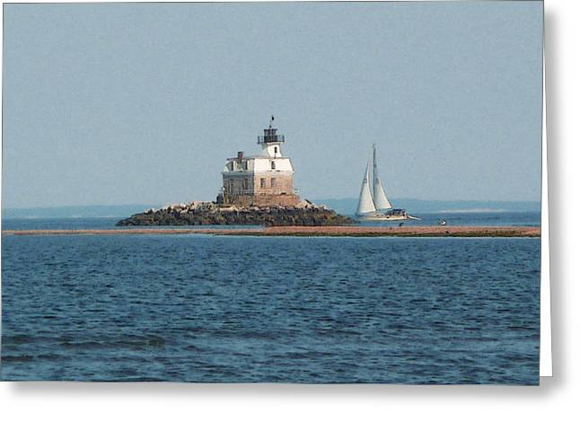 Sailing Penfield Lighthouse Greeting Card