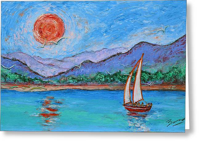 Greeting Card featuring the painting Sailing Red Sun by Xueling Zou