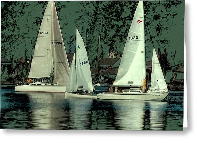 Greeting Card featuring the photograph Sailing Reflections by David Patterson