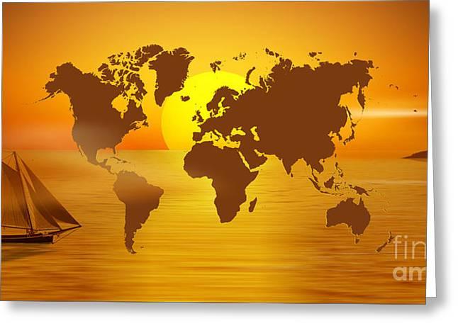 Sailing Around The World Greeting Card