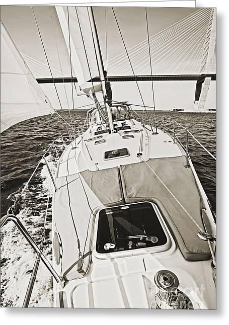 Sailing Sailboat Charleston Sc Bridge Greeting Card by Dustin K Ryan