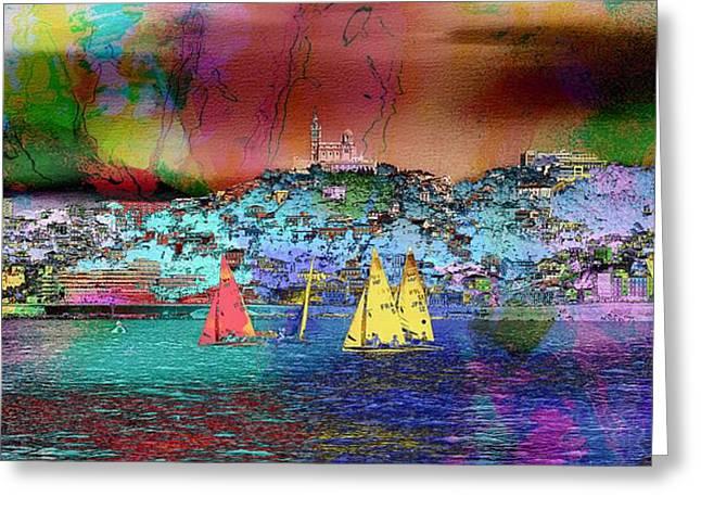 Sailing Sailboat Seascape Greeting Card by Jean Francois Gil