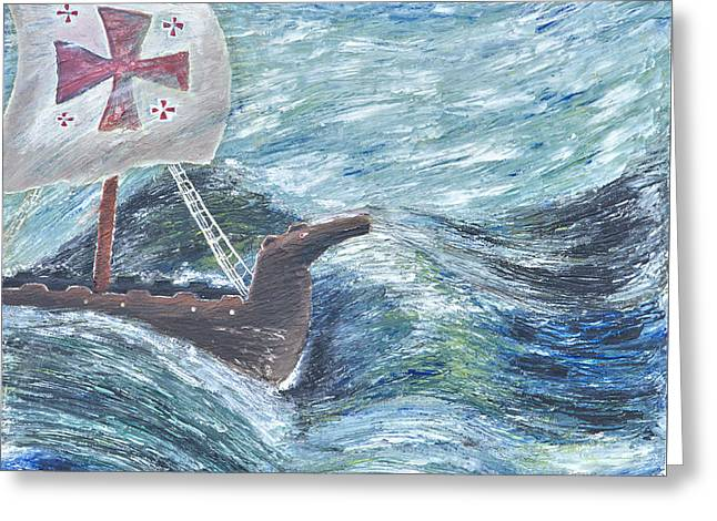 Sailing Ship In Maelstrom Greeting Card