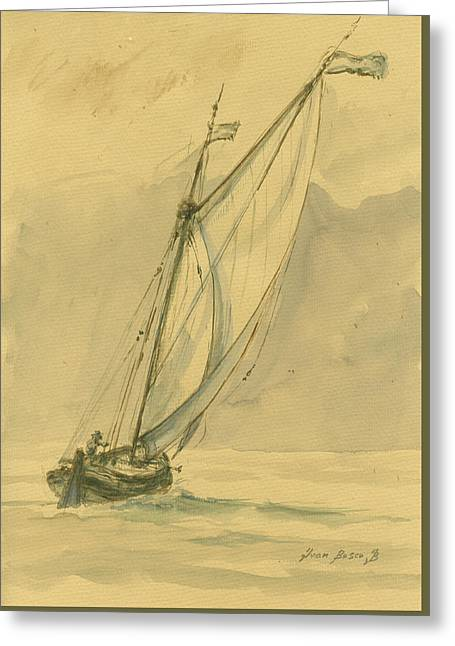 Sailing Ship Greeting Card by Juan Bosco