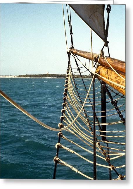 Sailing Ship Prow On The Caribbean Greeting Card by Douglas Barnett