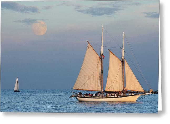 Sailing Ship With Moon Greeting Card by Abhi Ganju