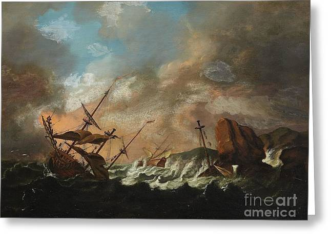 Sailing Ships In A Storm Greeting Card by Celestial Images