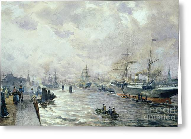 Sailing Ships In The Port Of Hamburg Greeting Card by Carl Rodeck