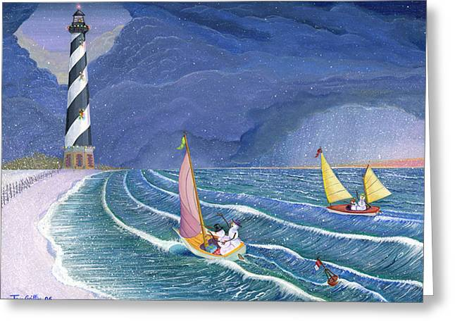 Christmas Art Greeting Cards - Sailing Snowmen Greeting Card by Thomas Griffin