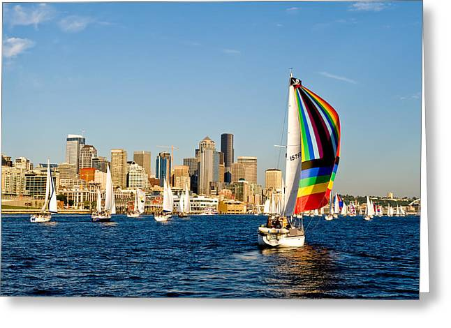 Sailing Some Color To Seattle Greeting Card by Tom Dowd