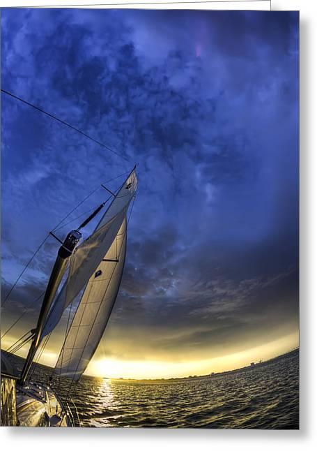 Charleston Greeting Cards - Sailing Sunset Beneteau 49 Yacht Greeting Card by Dustin K Ryan