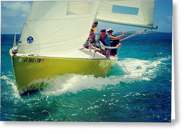 Sailing The Boat Over The Caribbean Ocean Greeting Card by Peter Parker