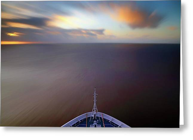 Greeting Card featuring the photograph Sailing The Caribbean - Cruise Ship - Sunrise - Seascape by Jason Politte