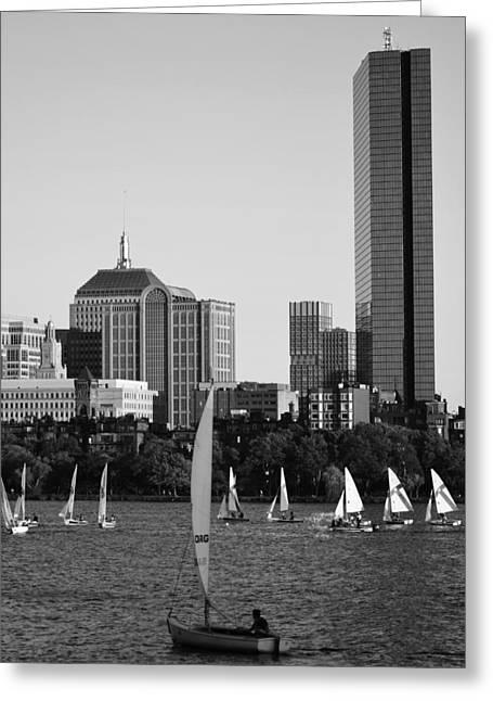 Sailing The Charles River Boston Ma Black And White Greeting Card