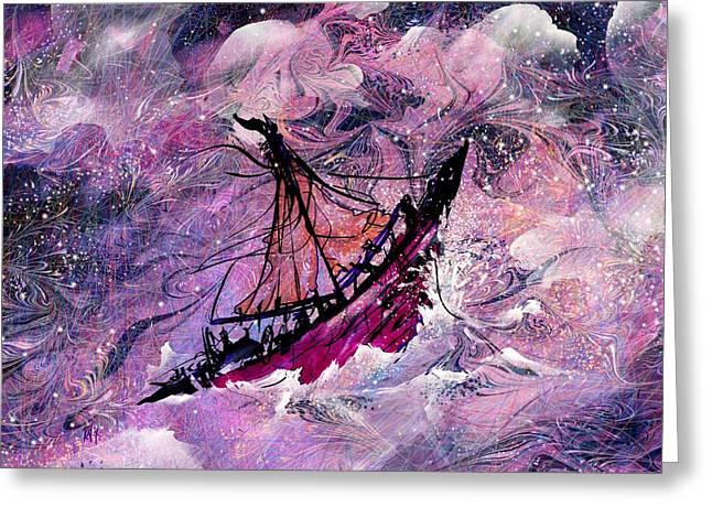 Sailing The Heavens Greeting Card by Rachel Christine Nowicki