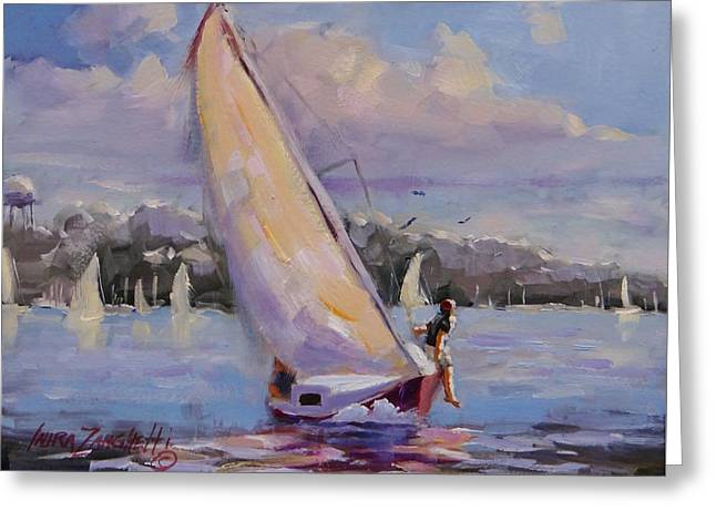 Sailing The Islands Of Boston Greeting Card