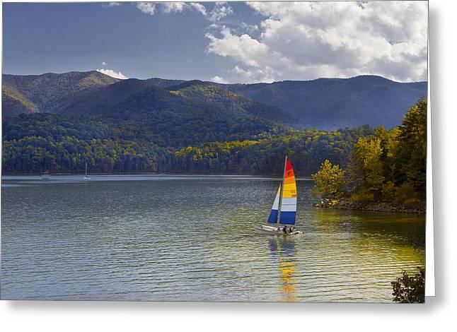 Sailing The Mountain Lakes Greeting Card