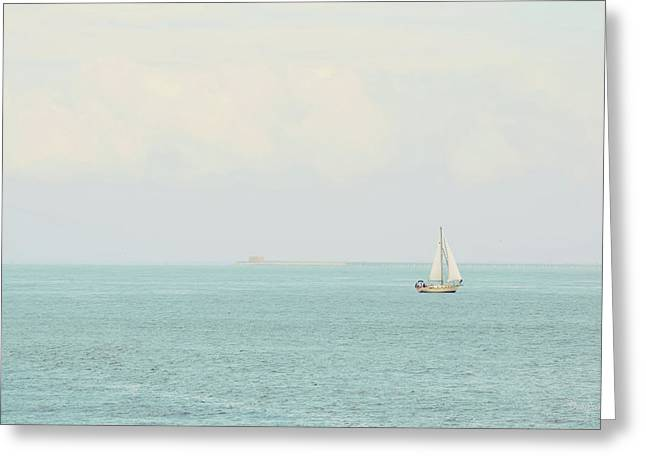 Greeting Card featuring the photograph Sailing The Ocean Blue by Deborah  Crew-Johnson