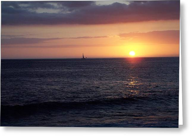 Sailing The Sunset Greeting Card