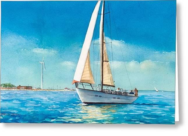 Sailing Through The Gut Greeting Card by Laura Lee Zanghetti