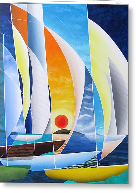 Greeting Card featuring the painting Sailing Till Sunset by Douglas Pike