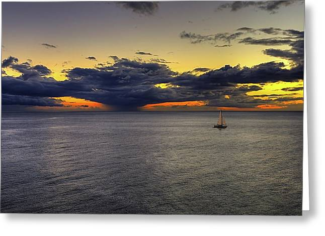 Sailing To Sunset Greeting Card