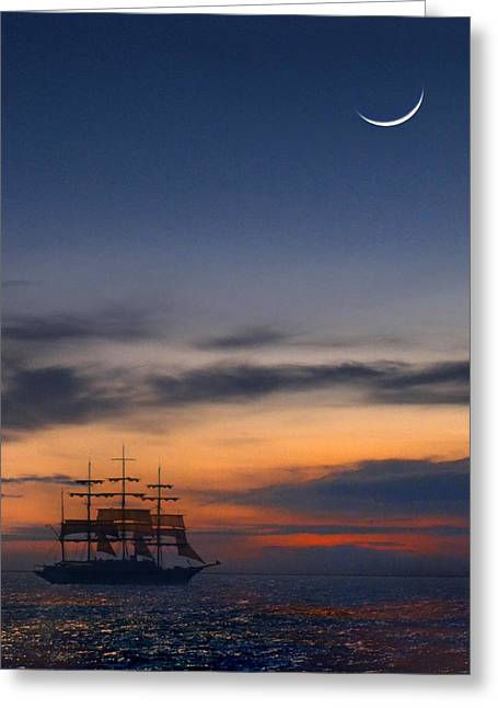 Sailing To The Moon 2 Greeting Card