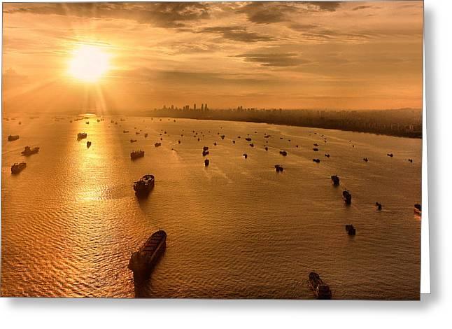 Sailing Towards The Ray Of Gold Greeting Card by Joseph Goh Meng Huat