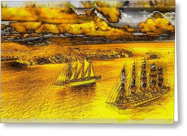 Sailing Under Golden Skies Greeting Card