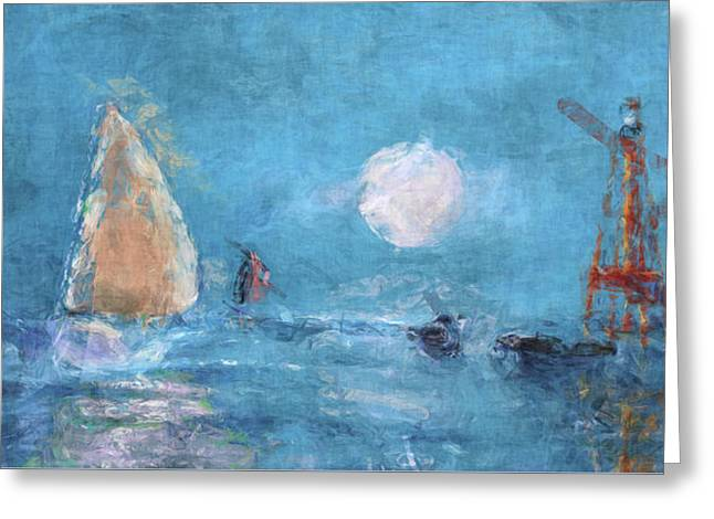 Sailing Under Moon Greeting Card by Ken Figurski