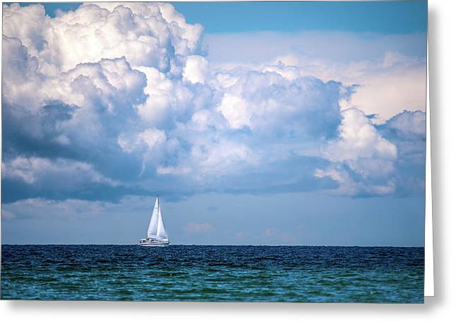 Sailing Under The Clouds Greeting Card