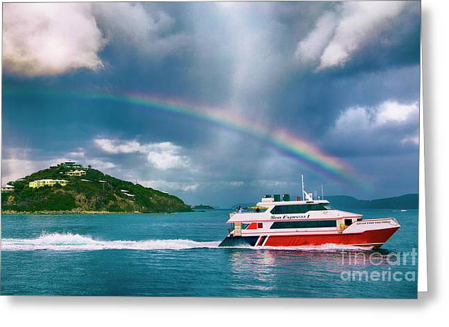 Sailing Under The Rainbow Greeting Card