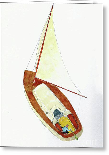 Sailing Watercolor Greeting Card by Fred Jinkins