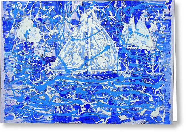 Greeting Card featuring the painting Sailing With Friends by J R Seymour